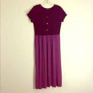 Vintage V-neck Midi Dress Plum Purple